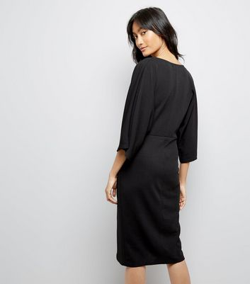 Mela Black Wrap Front Wide Sleeve Dress New Look