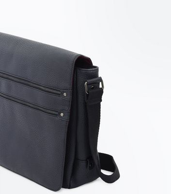 Black Double Zip Front Messenger Bag New Look