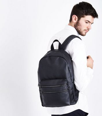Black Double Zip Front Backpack New Look