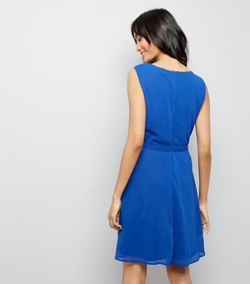 Mela Blue Pleated Skater Dress New Look