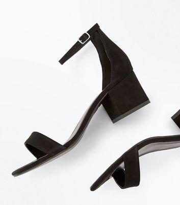 Black Suedette Low Block Heel Sandals New Look