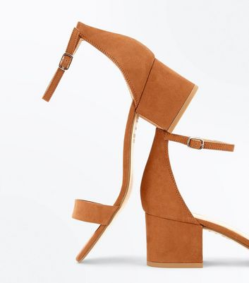 Tan Suedette Low Block Heel Sandals New Look