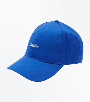 Blue Hello Embroidered Cap New Look