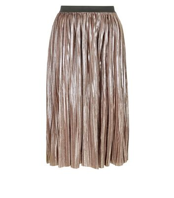 Mela Pink Pleated Midi Skirt New Look