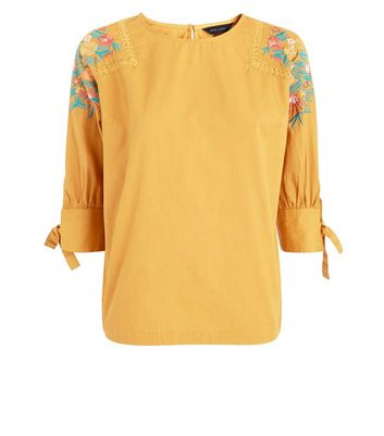 Yellow Floral Embroidered Sleeve Top New Look