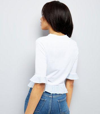 White Stripe Frill Trim Top New Look