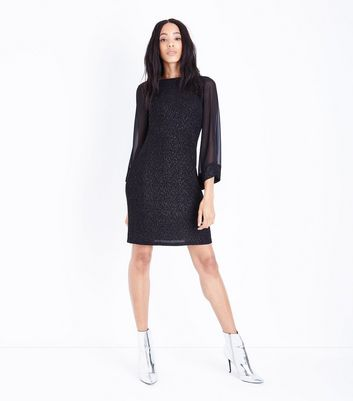 Mela Black Metallic Flared Mesh Sleeve Dress New Look