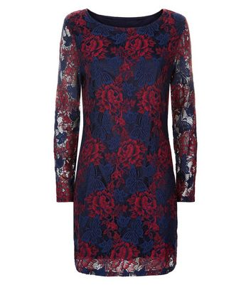 Mela Navy Floral Lace Bodycon Dress New Look