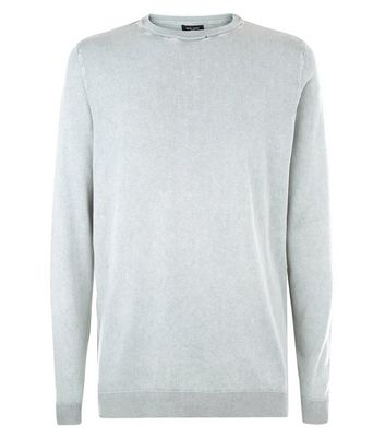 Olive Acid Wash Jumper New Look