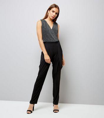 Mela Black Two Tone Wrap Front Jumpsuit New Look