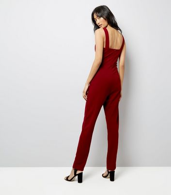 Mela Burgundy Tailored Jumpsuit New Look