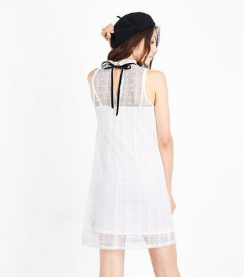 Cream Circle Lace High Neck Swing Dress New Look