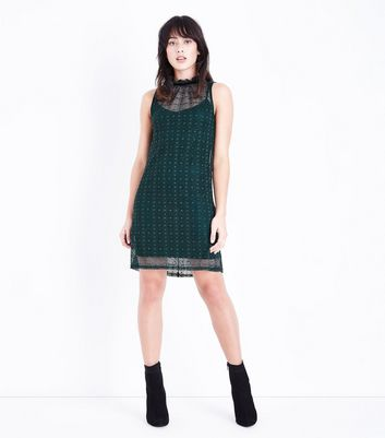 Dark Green Lace High Neck Swing Dress New Look