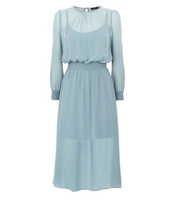 Pale Blue Chiffon Shirred Waist Midi Dress New Look