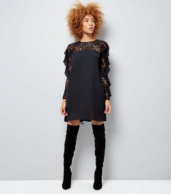 Black Lace Frill Sleeve Tunic Dress New Look