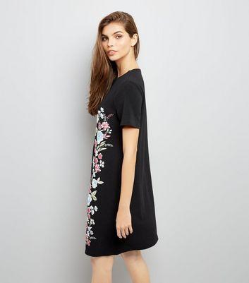 Black Crepe Floral Puff Print Tunic Dress New Look