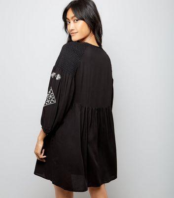 Black Embroidered Tassel Front Smock Dress New Look
