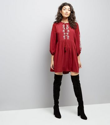 Burgundy Embroidered Tassel Front Smock Dress New Look