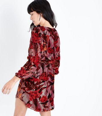 Red Floral Devore Velvet Tunic Dress New Look