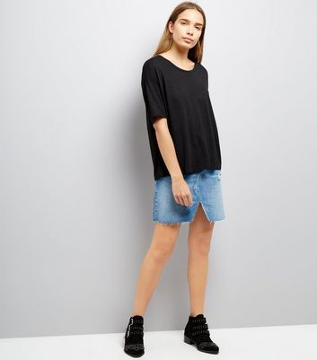 Black Textured Boxy T-Shirt New Look