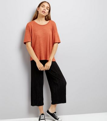 Rust Textured Boxy T-Shirt New Look