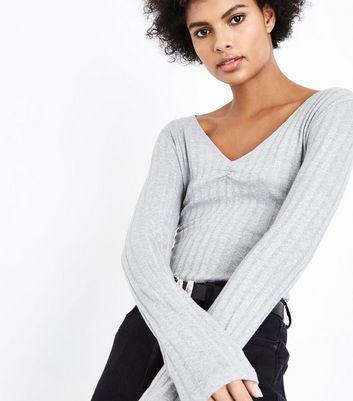 Grey Ribbed V Neck Top New Look