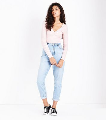 Pink Ribbed V Neck Top New Look