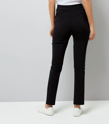 Black Pintuck Front Stretch Slim Leg Trousers New Look