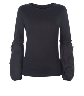 Black Tie Puff Sleeve Top New Look