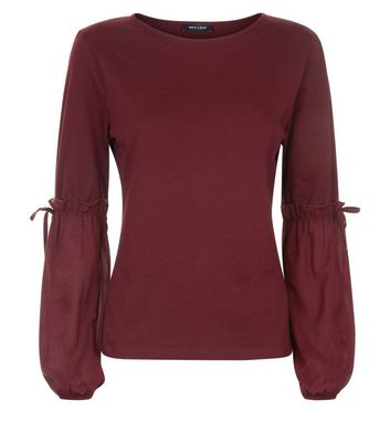 Burgundy Tie Puff Sleeve Top New Look