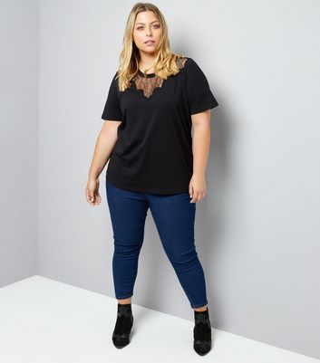Curves Black Scallop Lace Yoke T-Shirt New Look