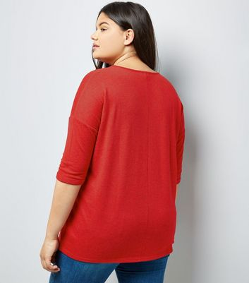 Curves Red Fine Knit Longline Top New Look