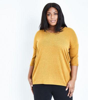 Curves Mustard V Neck Fine Knit Top New Look