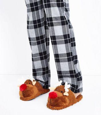 Tan Reindeer Christmas Slippers New Look