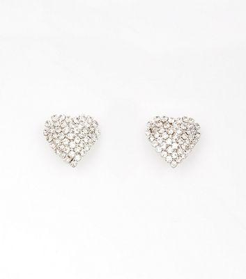 Silver Stone Heart Stud Earrings New Look