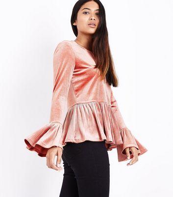 Petite Pink Velvet Plisse Peplum Top New Look