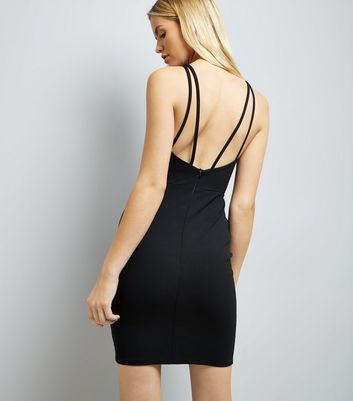 Black Multi Strap Bodycon Dress New Look
