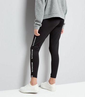 Teens Black Brooklyn Tape Leggings New Look