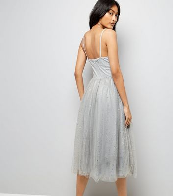 Grey Premium Glitter Mesh Midi Dress New Look