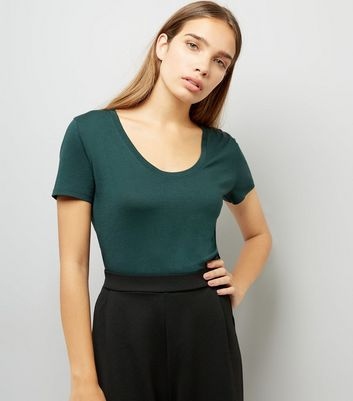 Dark Green Scoop Neck T-Shirt New Look