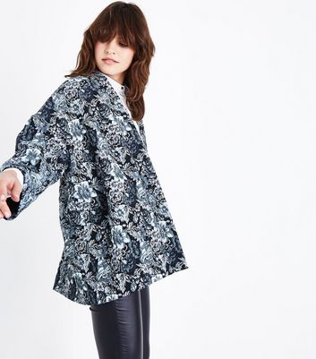 Black Floral Jacquard Kimono Jacket New Look