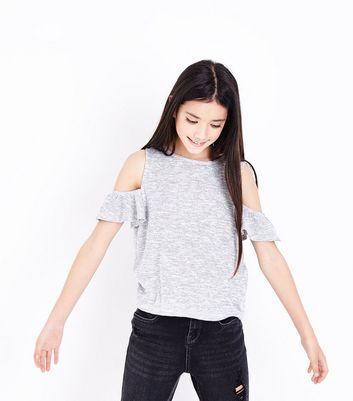 Teens Grey Frill Trim Cold Shoulder Top New Look