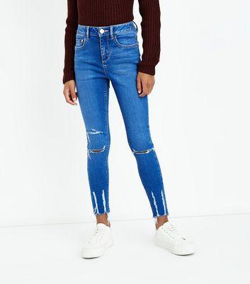 Teens Bright Blue Ripped Hem Skinny Jeans New Look
