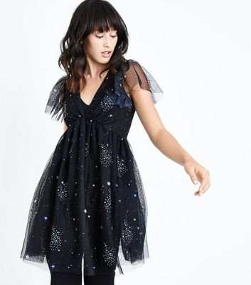 Black Premium Galaxy Embellished Mesh Dress New Look