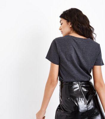 Dark Grey Lace Panel T-Shirt New Look