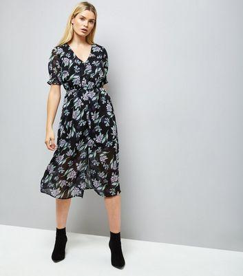 black-floral-leaf-print-button-front-midi-dress