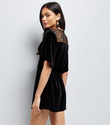 Black Velvet Lace Panel Wrap Front Playsuit New Look