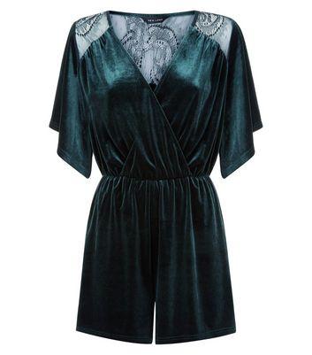 Dark Green Velvet Lace Panel Wrap Front Playsuit New Look