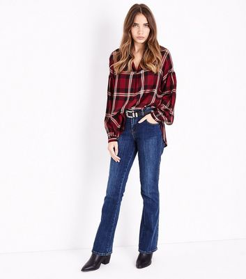 Red Check Balloon Sleeve Shirt New Look