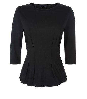 Black Pleated Waist Half Sleeve T-shirt New Look